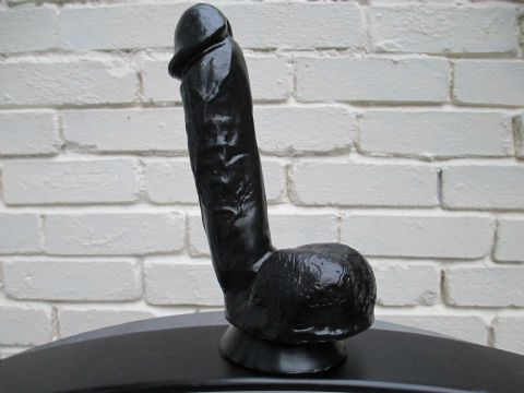 Mighty Thrust 9.9 inch Black PVC Dildo